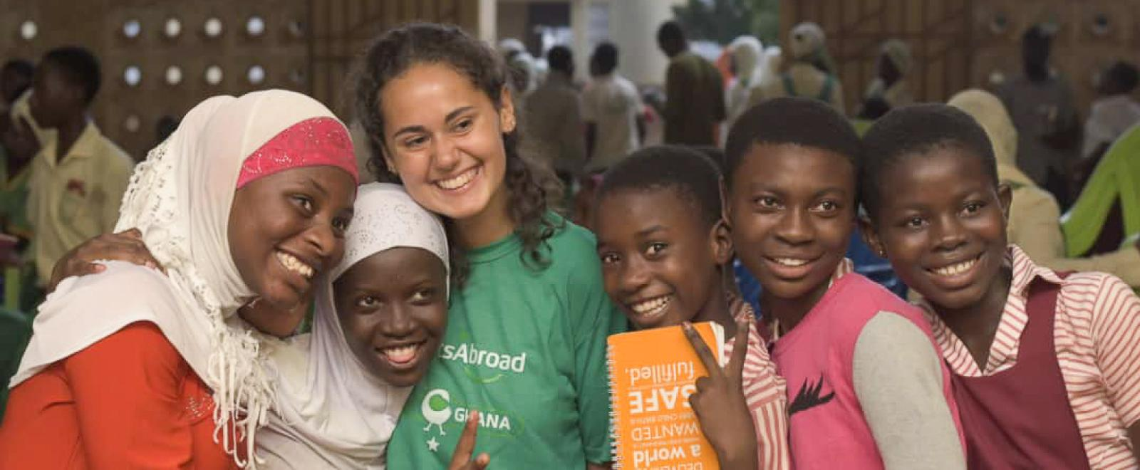 Projects Abroad volunteer meets local people in Ghana